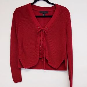 Forever 21 Sweaters - forever 21 | red lace up cropped knit sweater sz S